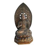 """42"""" Japanese Asian Gilt Wood Buddha On Lotus Throne W Mandala Vase"""