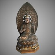 "42"" Japanese Asian Gilt Wood Buddha On Lotus Throne W Mandala Vase"