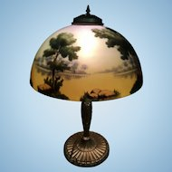 Pittsburgh Lamp Company Reverse Painted Landscape Shade PBL Table