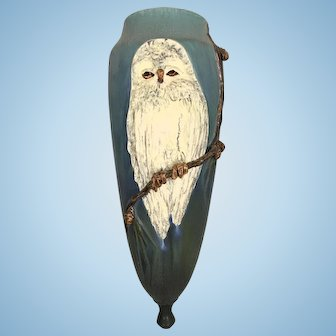 Large Vintage Ephraim Art Pottery Wall Pocket Snowy Owl Pinecones Laura Klein