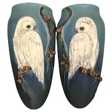 Vintage Pair Ephraim Art Pottery Wall Pockets Snowy Owl Pinecones Laura Klein Kevin Hicks