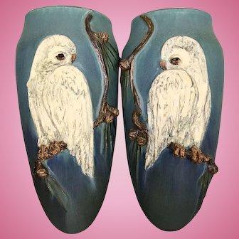 Vintage Pair Ephraim Art Pottery Wall Pockets Snowy Owl Pinecones Laura Klein Kevin Hicks