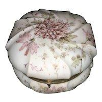Antique CF Monroe Wavecrest Glass Enamel Dresser Box Chrysanthemum Wave Crest