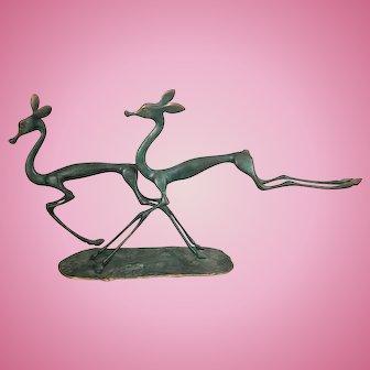 Vintage Hagenauer Style Stylized Verdigris Bronze Deer Sculpture Italy