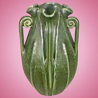 Miniature Ephraim Art Pottery Matte Green Arts & Crafts Style Cabinet Buttressed Vase