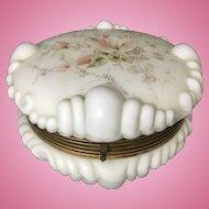 Antique CF Monroe Wavecrest Art Glass Enamel Dresser Box Baroque Shell Wave Crest
