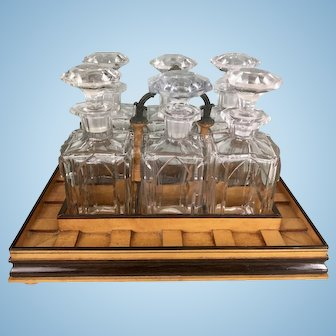 Old French Tantalus Cellarette 6 Crystal Cut Decanters Bar