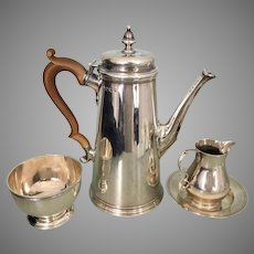 Vintage English Asprey Sterling Silver Tea Set Pot Creamer Sugar Bowl