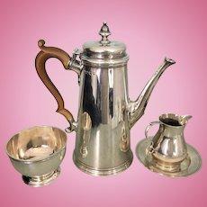 Vintage English Asprey Sterling Silver Tea Set Pot Creamer Sugar Bowl