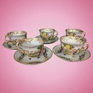 5 Old Vintage Capodimonte Porcelain Cups & Saucers Italy Gilt Trim Raised Cherubs Cows