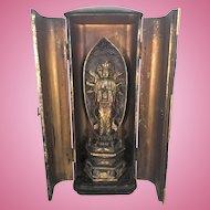 Antique Japanese Zushi Gilt Lacquer Shrine Buddha Avalokiteshwara Edo Meiji Period