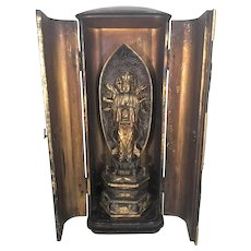 Antique Japanese Zushi Gilt Lacquer Shrine Buddha Avalokiteshwara Edo Meiji Period