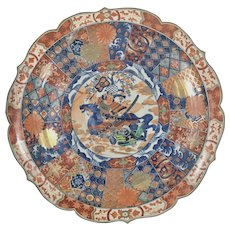 Massive Antique Japanese Porcelain Charger Kutani Samurai Warrior On Horseback