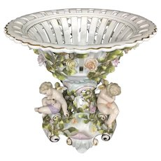 Antique German Von Schierholz Porcelain Reticulated Compote Encrusted Cherubs