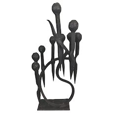 Vintage Haim Azuz Brutalist Modernist Iron Bronze Menorah Hanukkah Judaica