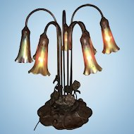 Vintage Prairie Mission Style Bronze Lily Pad Lamp 7 Arm Gold Glass Iridescent Lilly Shades