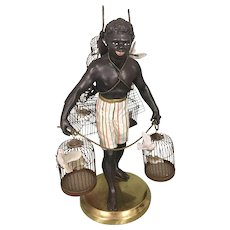 Vintage Petite Choses Metal Brass Blackamoor Nubian Man W Bird Cages