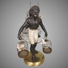 Vintage Petite Choses Metal Brass Blackamoor Nubian Man W Bird Cages