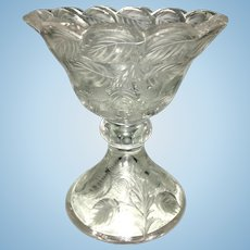 Antique Etched Glass Compote Vase Or Spooner Berries & Leaves
