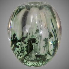 Vintage Orreofrs Graal Art Glass Edward Hald Sea Aquarium Fish Seahorse Vase Sculpture