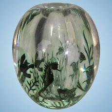 Vintage Orreofrs Graal Art Glass Edward Hald Sea Aquarium Fish Seahorse Vase Sculpture