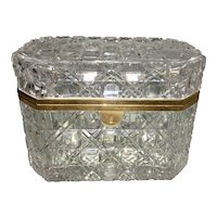 Old French Baccarat Cut Crystal Glass Ormolu Jewelry Box Casket