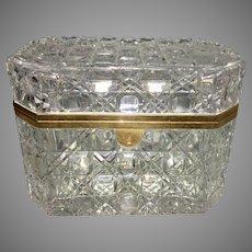Old French Baccarat Cut Crystal Glass Ormolu Jewelry Box Casket