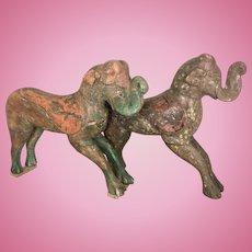 Pr Large Old Carved Asian Elephants Polychrome Wood Hindu Indian India