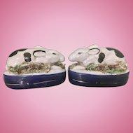 Vintage Staffordshire English Bunny Rabbits Miniature Pair