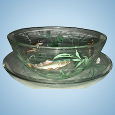 Early 20th C Moser Glass Enamel Bowl & Underplate W Fish Sea Grass