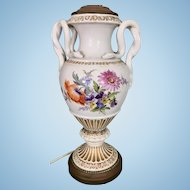 Vintage Meissen Porcelain Snake Vase Lamp Hand Painted Flowers