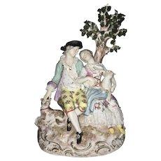 Meissen Porcelain Group Shepherd Couple Sculpture Germany Lamb Dog