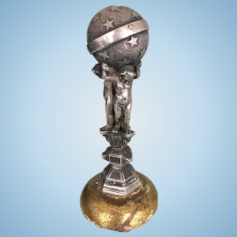 Small Antique Silver Group 3 Cherubs Holding The Globe World Hallmarked