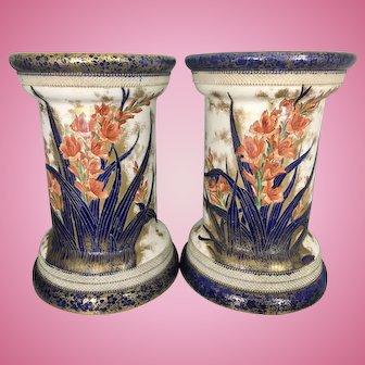 Pr Lg Carlton Ware Blush Flow Blue Jardiniere Plant Stands Gladiolus Gladioli Pottery Porcelain