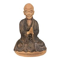 Old Chinese Shiwan Lohan Monk Scholar Terra Cotta Pottery Detailed Lifelike