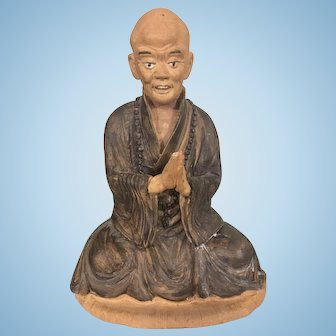 Old Chinese Lohan Monk Scholar Terra Cotta Pottery Detailed Lifelike