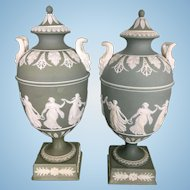 Pr Wedgwood Green Jasperware Dancing Hours Urns Bacchus Handles