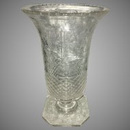 Antique Hawkes ABP American Brilliant Pattern Cut Glass Vase Floral Etched