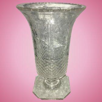 Antique Hawkes ABP American Brilliant Pattern Cut Glass Vase Floral Etched