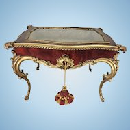 Diminutive French Gilt Bronze Ormolu Table Top Vitrine Faux Tortoiseshell Wood Glass