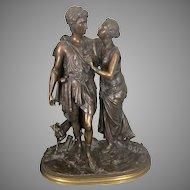 19th C Jean Louis Gregoire French Bronze Sculpture Arcadian Lovers W Dog Statue Susse Foundry Paris