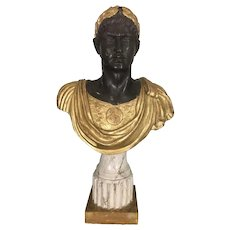 19th C French Empire Style Emperor Caesar Parcel Gilt Wood Bust Sculpture 19th c