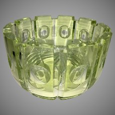 Orrefors Olle Alberius Art Glass Yellow Clear Cut Bowl 78 Expo Centerpiece