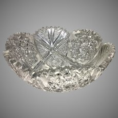 Antique ABP Cut Crystal Glass Bowl American Brilliant Pattern