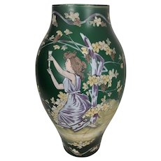 Czech Bohemian Loetz Style Iridescent Green Vase Enamel Woman Art Nouveau