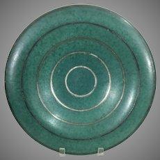 Gustavsberg Argenta Large Center Piece Bowl Art Deco Wilhem Kage Silver Inlay