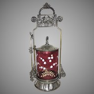 Victorian Meriden Silver Plate Pickle Castor Jar Cranberry Enamel Glass Cherubs Birds