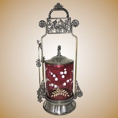 Victorian Meriden Silver Plate Pickle Castor Jar Cranberry Enamel Glass Cherubs Birds