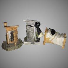 Lot 3 Old German Bisque Porcelain Fairing Black Americana Figurines Germany