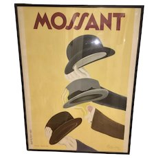 Original French Leonetto Cappiello Mossant Hat (s) Lithograph Poster Framed Art Deco Paris